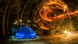 Camping. Forest. Night. Lights. Creativity UHD