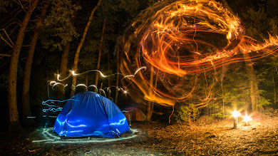 Camping. Forest. Night. Lights. Creativity
