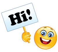 Large smiley-face emoji holding a sign with Hi! in bold black letters