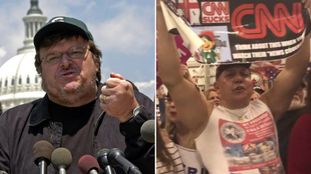 Michael Moore Reveals Video of Bomb Suspect Amid Angry Crowd at Trump Rally