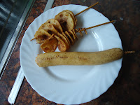 Corn Dog and Spiral Chips on a stick