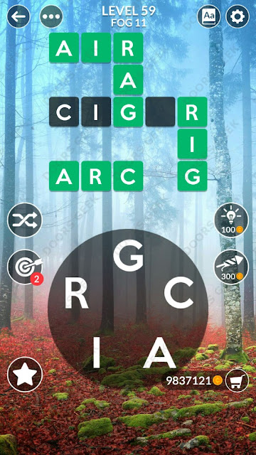 Wordscapes Level 59 answers, cheats, solution for android and ios devices.