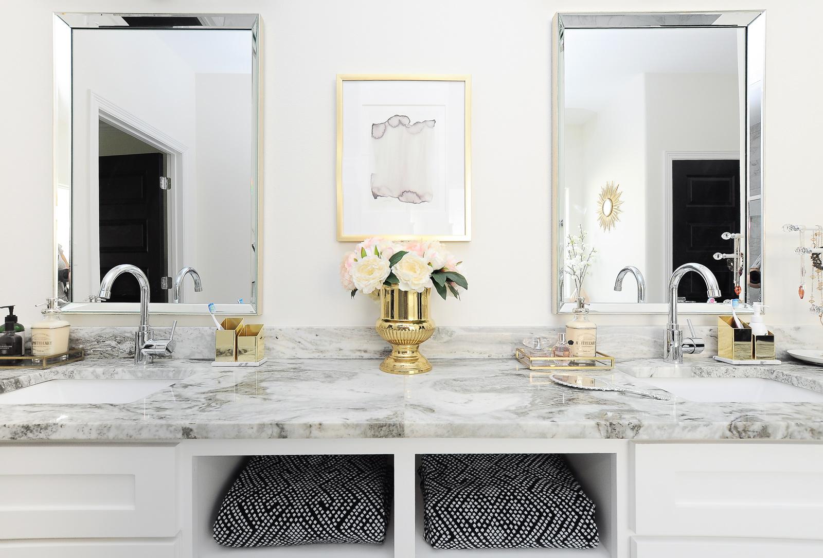 Glam Gold & White Master Bathroom Refresh | Monica Wants It
