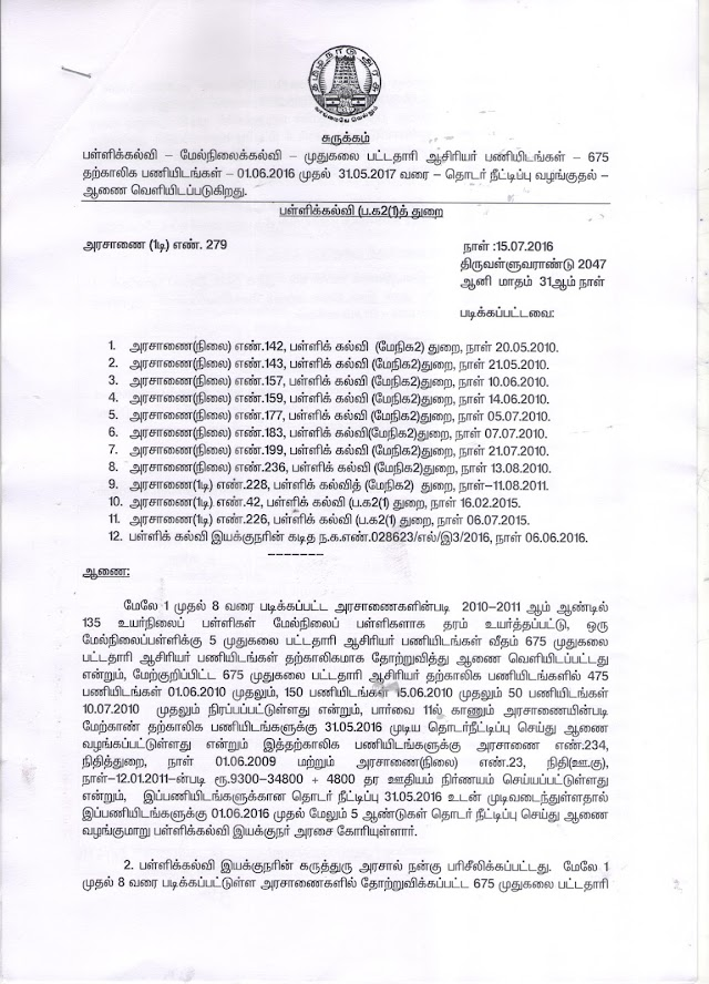 DSE; PAY ORDER FOR 675 PG POSTS FOR  GO NO 142,143,157,159,177,183,199,236,228,42,226 AND LETTER NO 028623