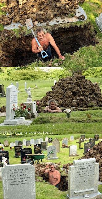 Spass bei der Arbeit haben lustig- Totengräber ist glücklich und lacht - Humor Bilder
