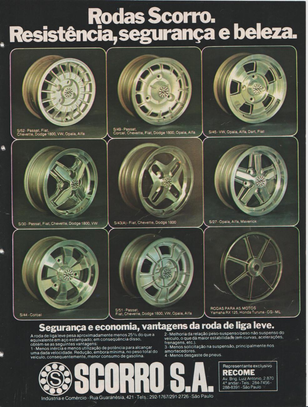 Propaganda antiga das Rodas Scorro veiculado no final dos anos 70