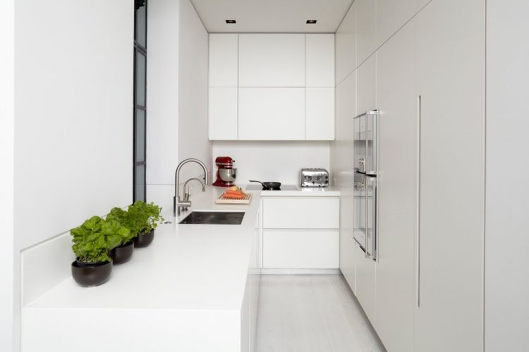 All white is a way to go for a narrow kitchen x