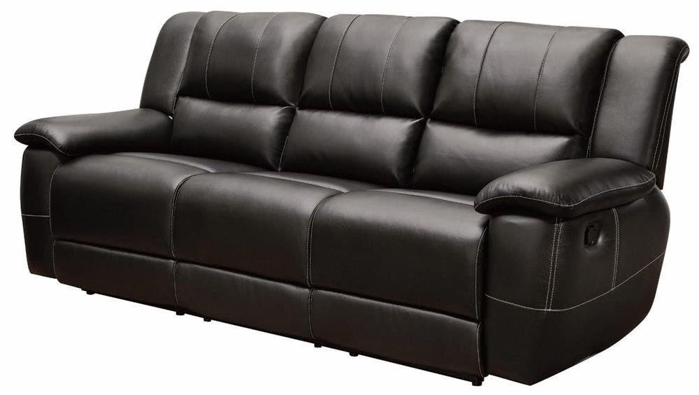 Coaster Home Black Reclining Sofa Leather Power