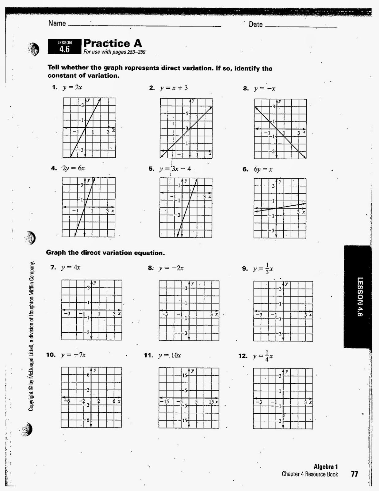 Variation Math Worksheet