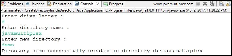 Output of Java program that creates a new directory inside given directory.