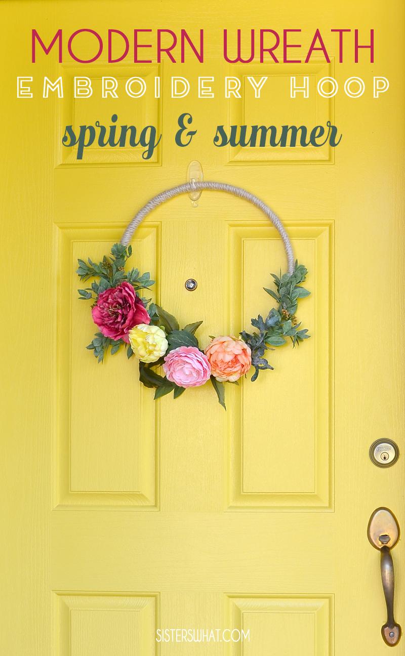 diy modern flower hoop wreath for front door