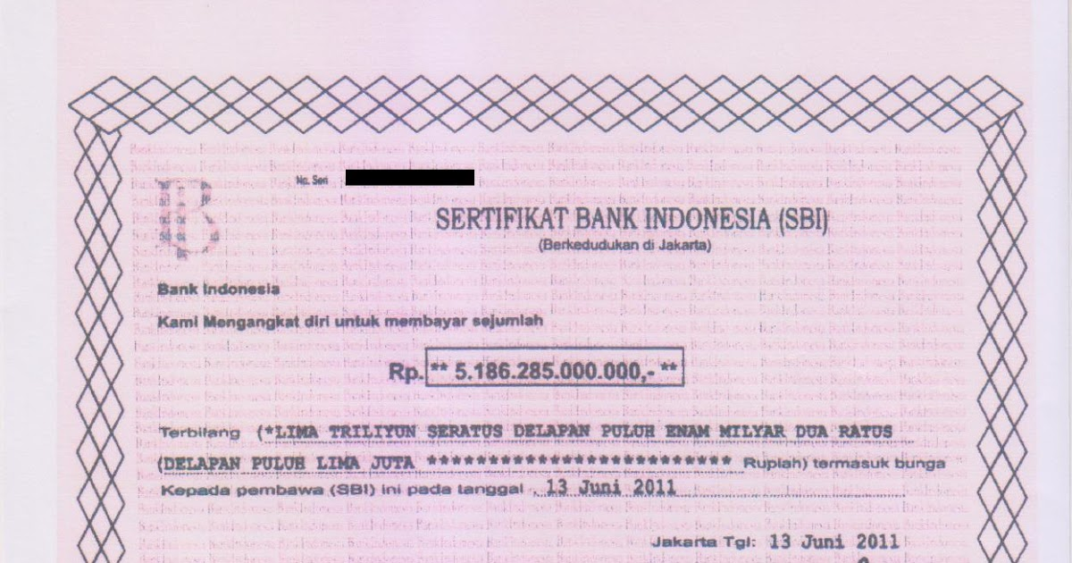 Dokumen Sertifikat Bank Indonesia Sbi Yang Banyak Memakan