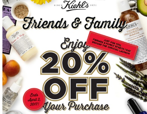 Kiehls Friends & Family Event 20% Off Promo Code