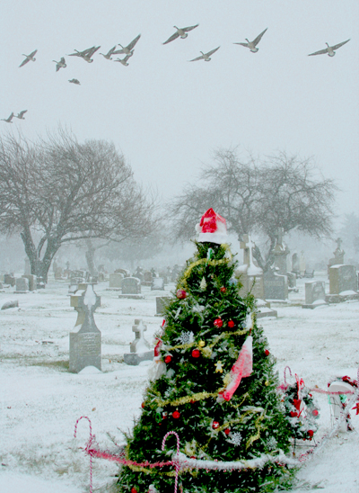 The Cemetery Traveler By Ed Snyder Grave Decorations Christmas In