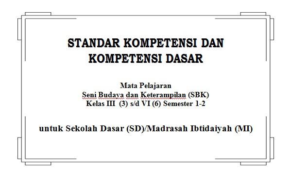 SK-KD Seni Budaya dan Ketrampilan (SBK) SD Kelas 3, 4, 5, 6 Semester 1 dan 2 KTSP