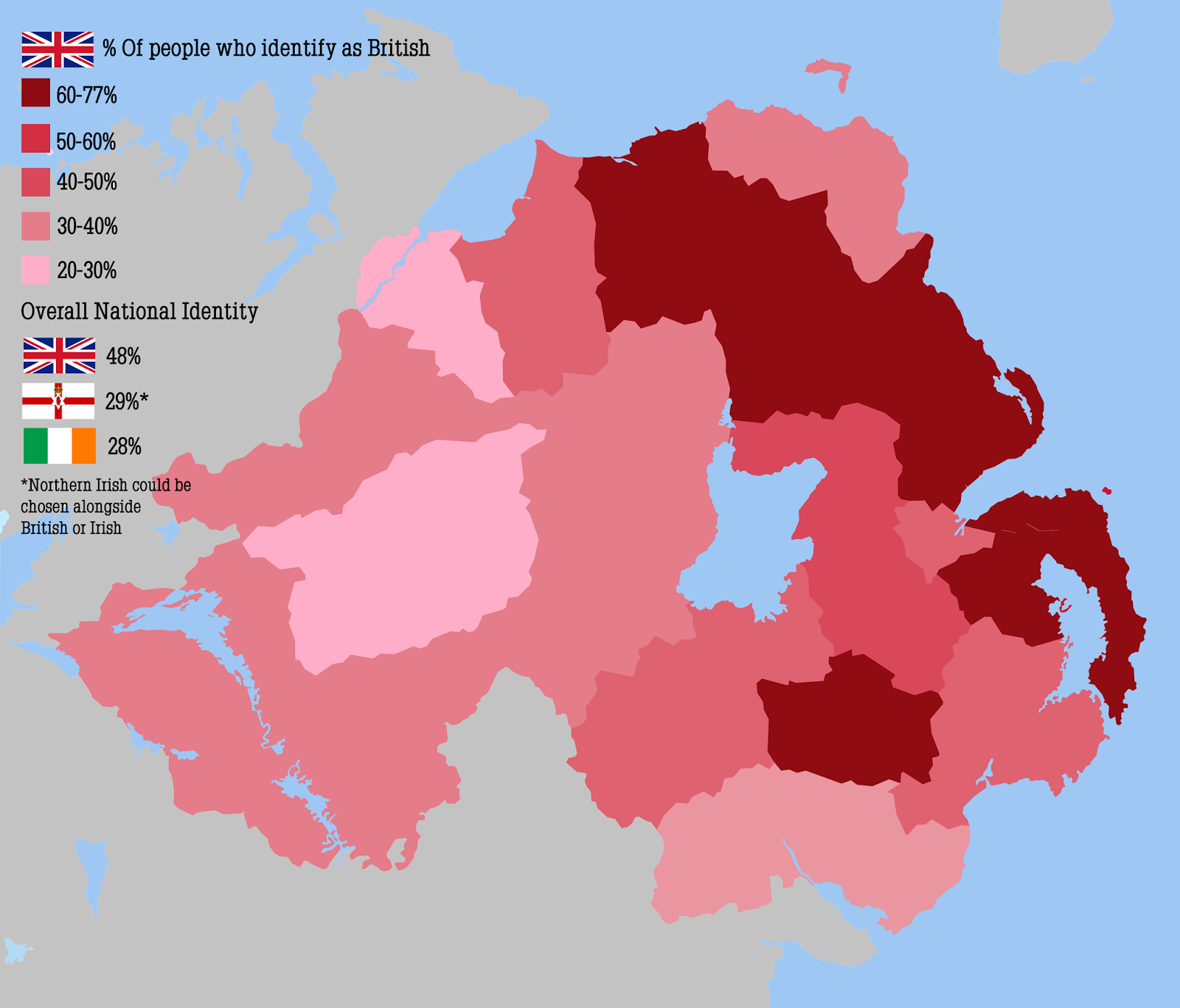 "Percentage of population in Northern Ireland who identify as ""British"""