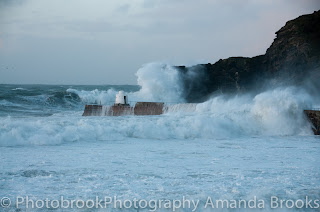 Storm waves north coast of cornwall
