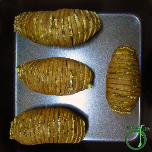 Morsels of Life - Hasselback Potatoes Step 4 - Bake at 350F until skin crispy and inside tender.