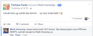 Warih-Homestay-Testimoni-FB- Cik-Farhana