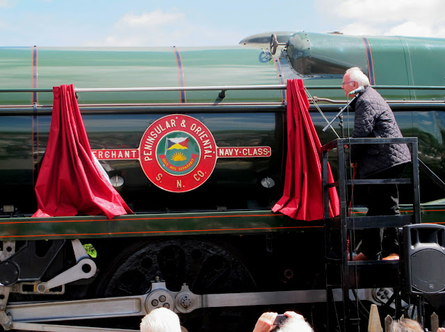 Steam locomotive, 35006 'Peninsular & Oriental S.N.Co', formerly a workhorse of the Southern Railway, recently starred in naming ceremony at the Gloucestershire and Warwickshire Steam Railway, hosted by pop icon, Pete Waterman.