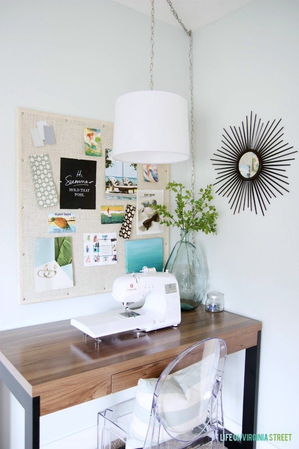 create a functional sewing area in a corner