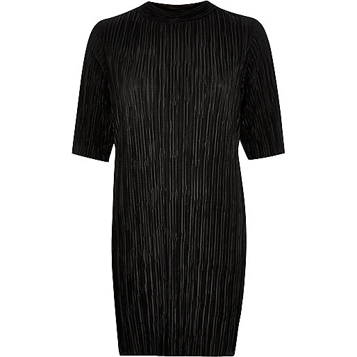 river island black pleat dress, high neck black pleat dress,