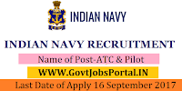 Indian Navy Recruitment 2017– ATC & Pilot
