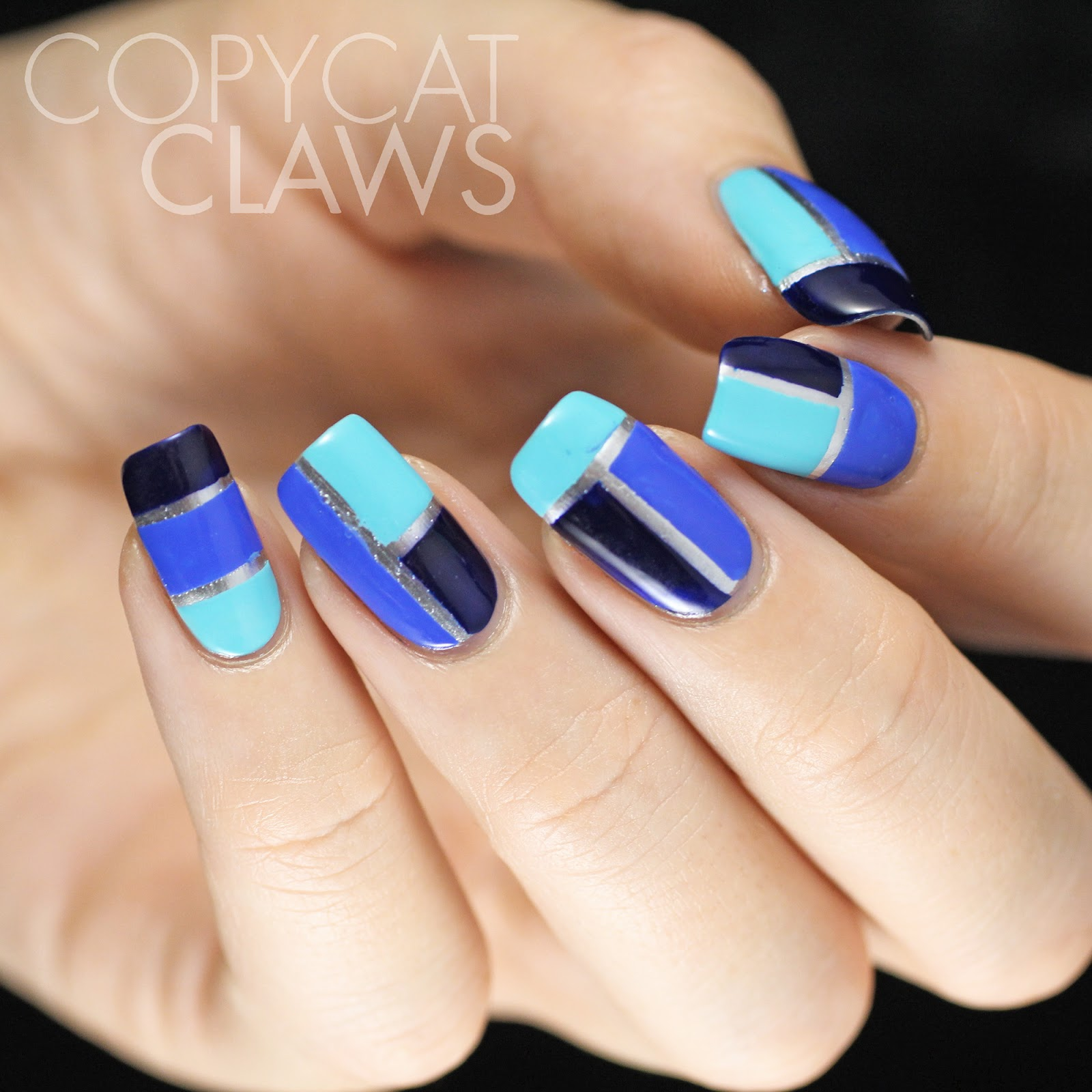 Copycat Claws Blue Color Block Nail Art: Copycat Claws: Blue Color Block Nail Art