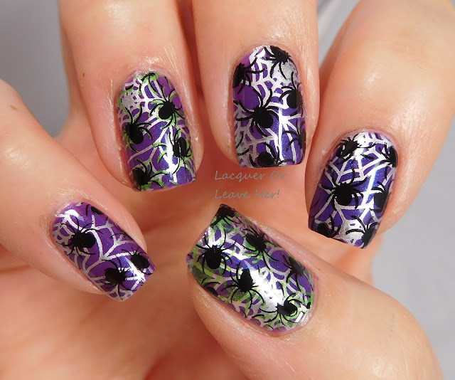 UberChic Beauty Halloween 01 & 02 over Sassy Pants Create, stamped with Messy Mansion polishes