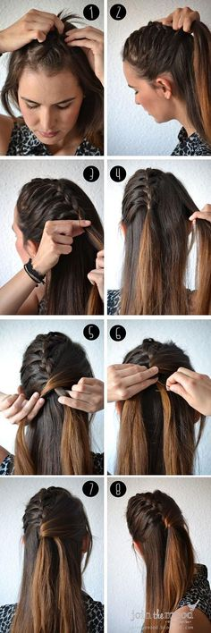 French braid at the middle of hair