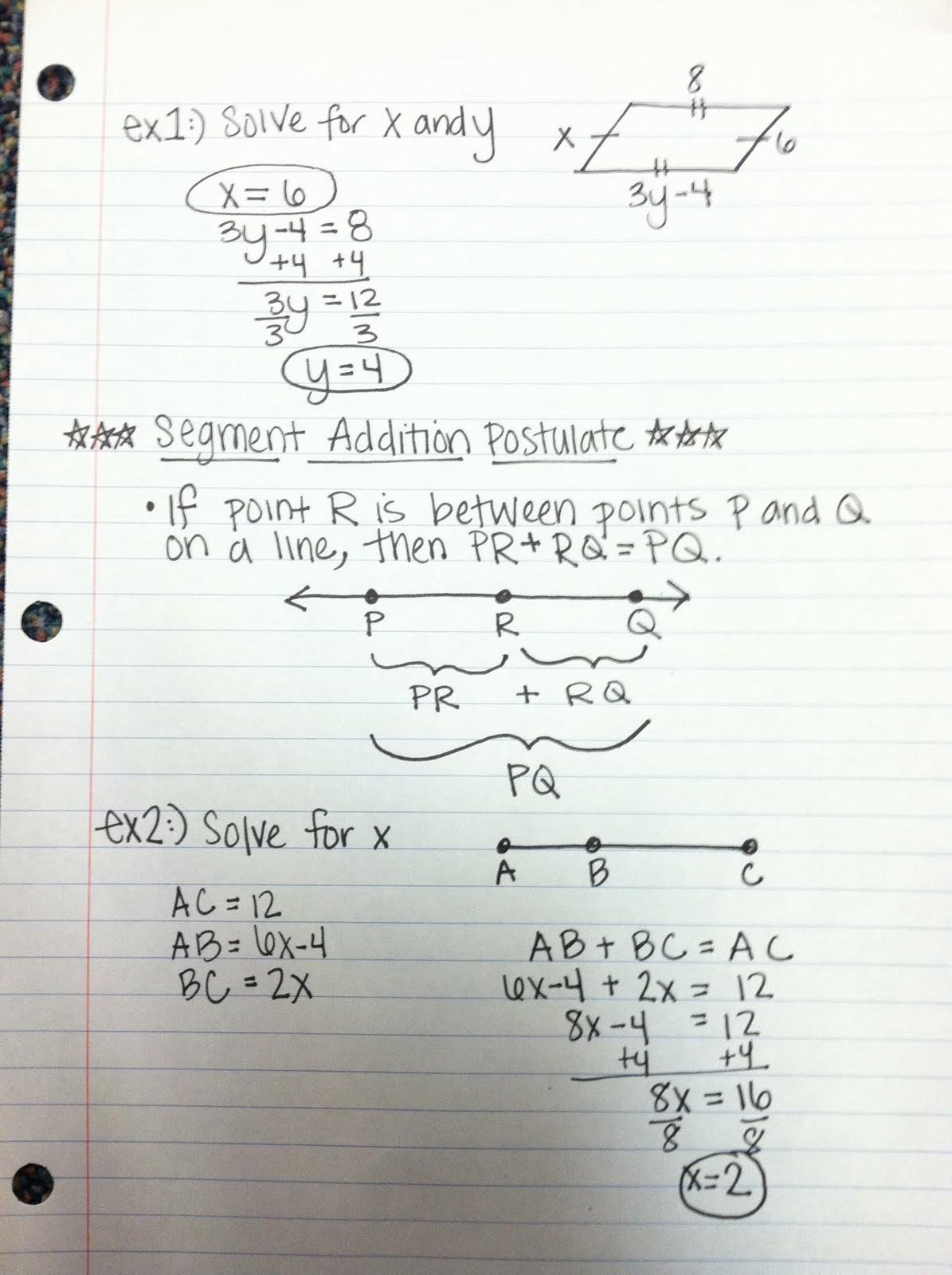 Geometry 1 2 Segment Addition Postulate