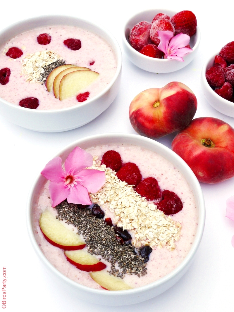 Peach & Berries Smoothie Bowl Recipe - BirdsParty.com