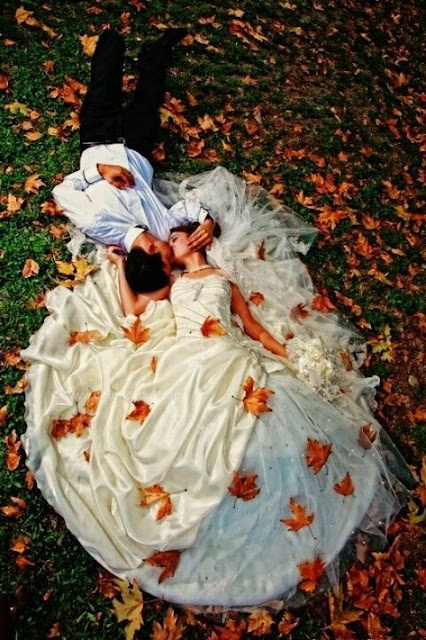 fall wedding bride and groom
