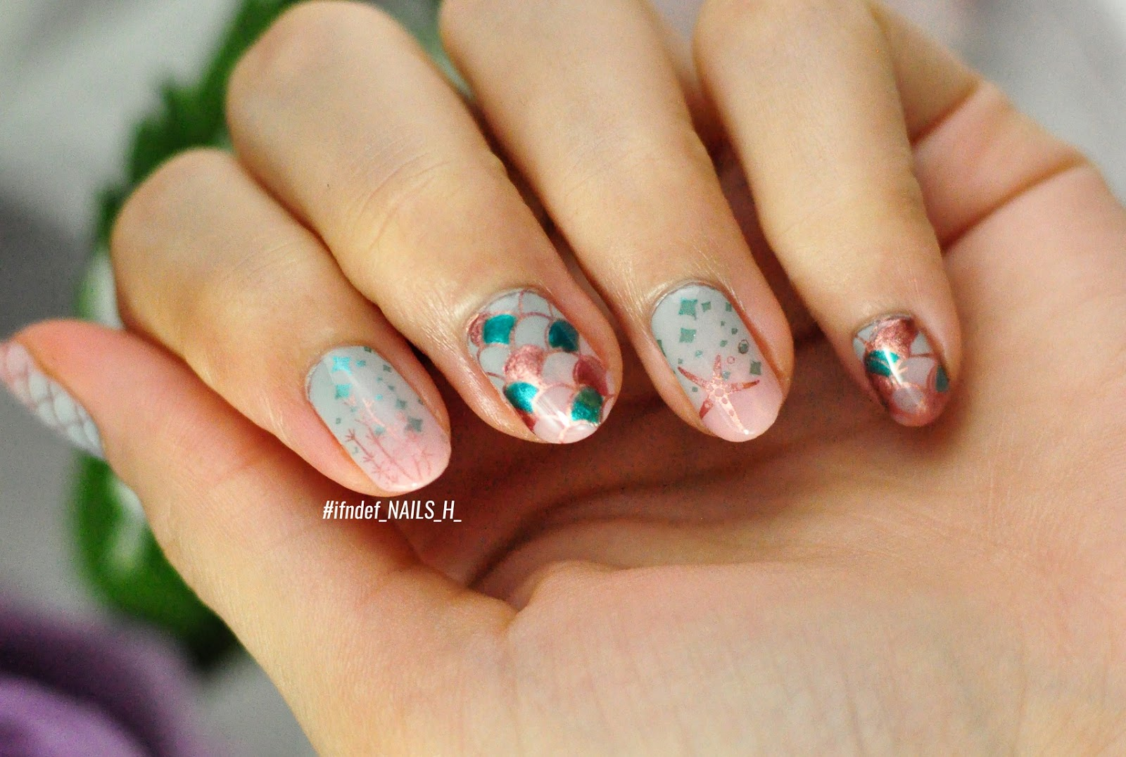 Under The Basic Sea Mint Pink Mermaid Nails Ifndef Nails H