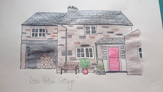 Sketch of Low Hollin Cottage for Bespoke Visitors Book
