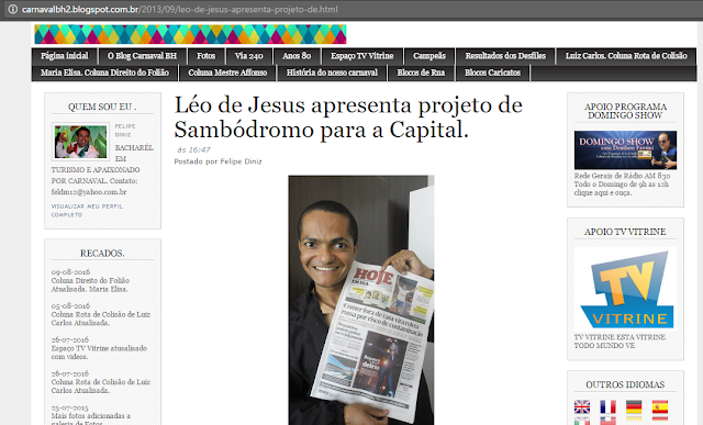 BLOG CARNAVAL DE BH - Léo de Jesus apresenta projeto de Sambódromo para a Capital