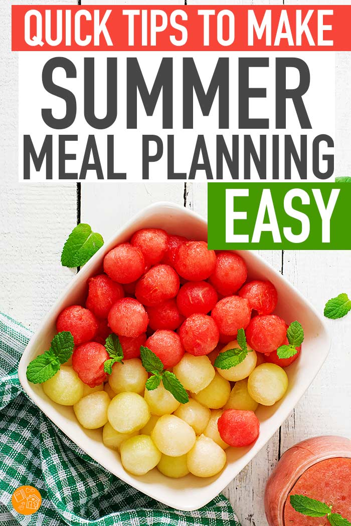 Make summer meal planning simple with these easy tips! Find meal planning tips that will make summer break easier and plan meals with less stress. Includes an amazing meal planning bundle too! #mealplan #mealplanning #dinner #familymeals