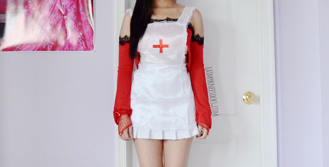 White lace-trim satin nurse costume set and red ruffled lace gloves from Dresslink.
