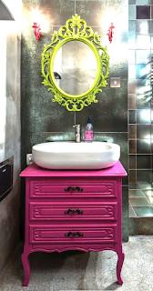 Pintura rosa lavabo retrô