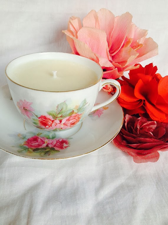 Handpainted Floral Vintage Soy Candle