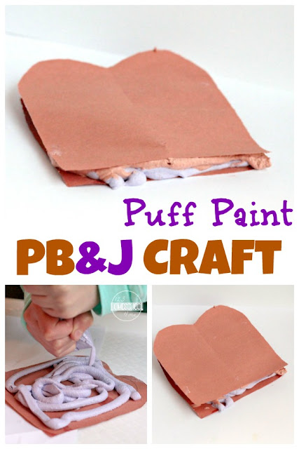 Puffy Paint PB&J craft for kids - such a fun activity for back to school, preschool, prek, kindergarten, and national Peanut Butter and Jelly Day