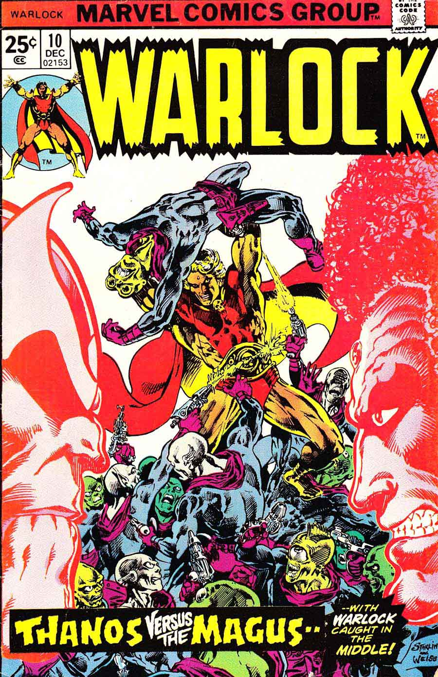 Warlock v1 #10 marvel 1970s bronze age comic book cover art by Jim Starlin