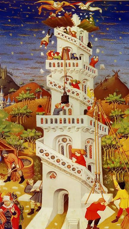 Anjos dispersam os construtores da Torre de Babel,  Bedford Book of Hours