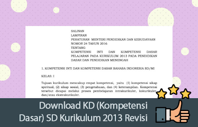 Download KD (Kompetensi Dasar) SD Kurikulum 2013 Revisi 2017