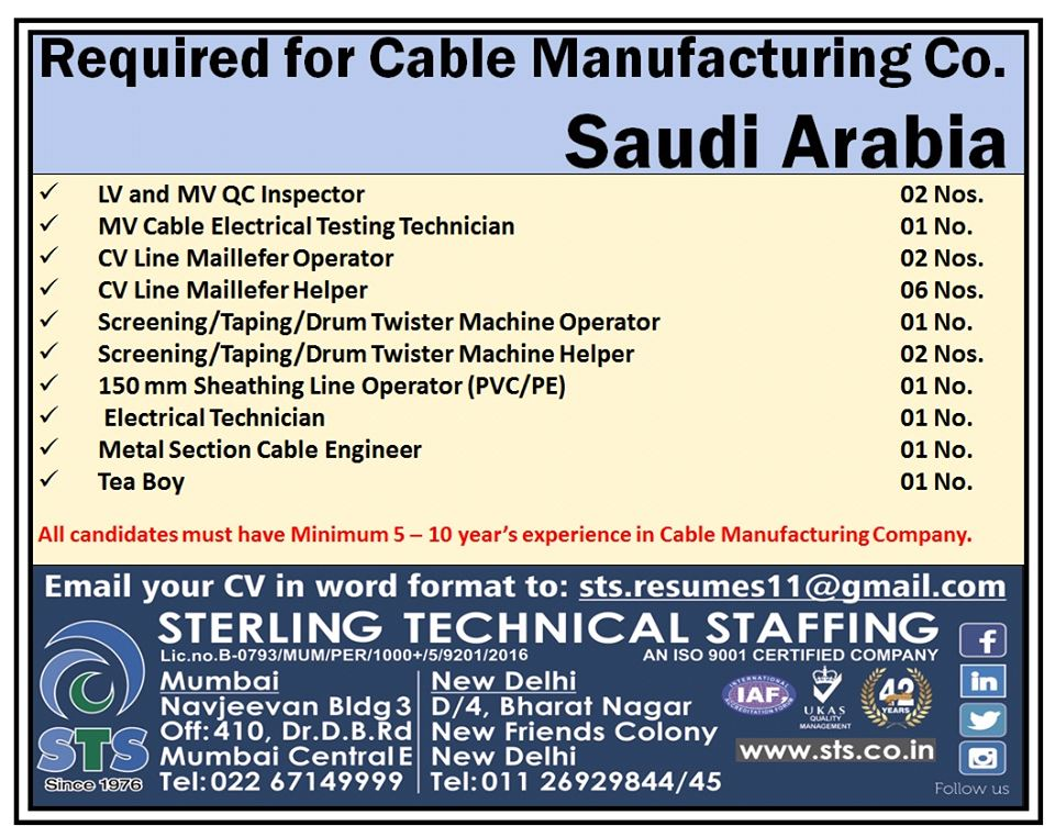 Required for Cable Manufacturing Company in Saudi Arabia
