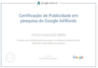 Certificação do Adwords em 2017