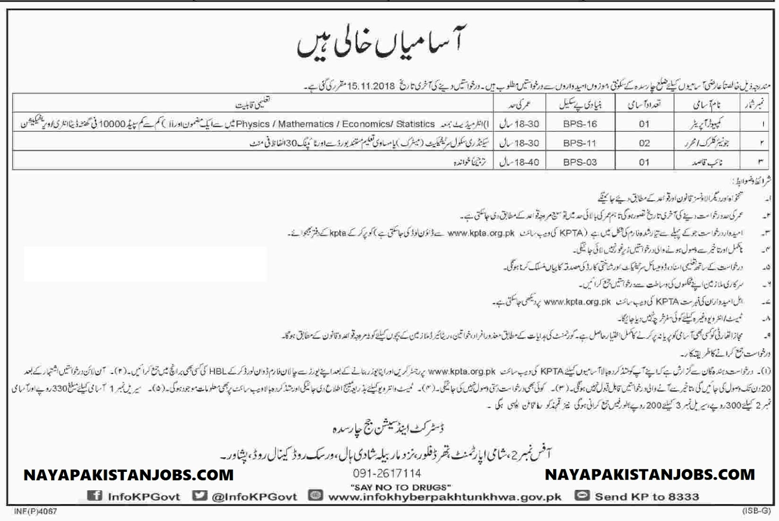 Latest Vacancies Announced in District And Session Judge Charsadda 24 October 2018 - Naya Pakistan