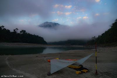 camoing side of river big agnes tarp kayak whitewater sand beach sun set Siang River Himalayas Arunachal Pradesh WhereIsBaer.com Chris Baer