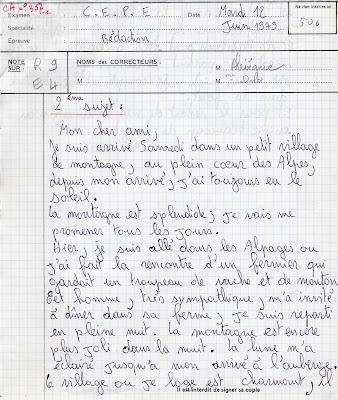Rédaction du Certificat d'Etudes Primaires, session 1979 (collection musée)