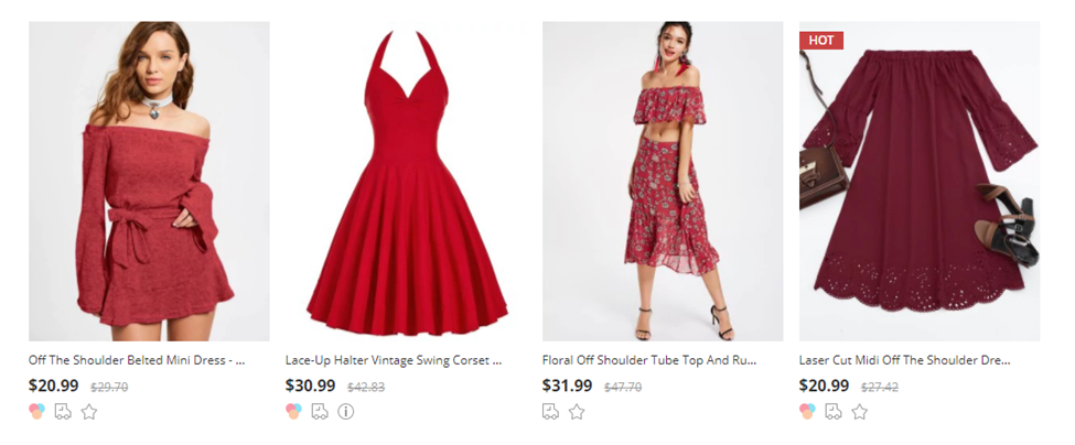 zaful vestidos vermelhos